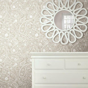 Paisley Prince Peel and Stick Wallpaper beige roomset