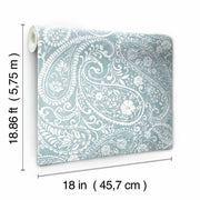 Paisley Prince Peel and Stick Wallpaper blue roll