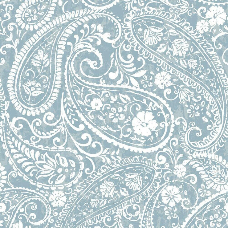 Paisley Prince Peel and Stick Wallpaper blue