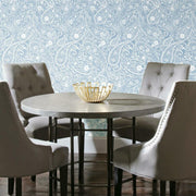 Paisley Prince Peel and Stick Wallpaper blue roomset 3