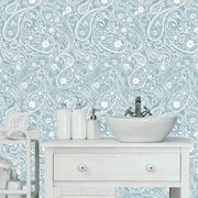 Paisley Prince Peel and Stick Wallpaper blue roomset 2