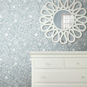 Paisley Prince Peel and Stick Wallpaper blue roomset