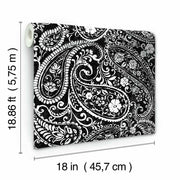 Paisley Prince Peel and Stick Wallpaper black roll