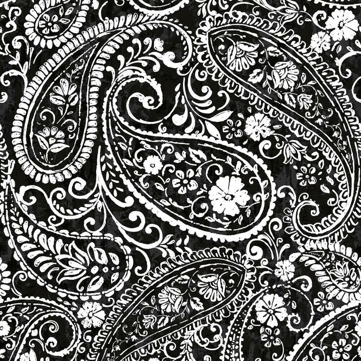 Paisley Prince Peel and Stick Wallpaper black