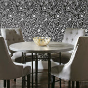 Paisley Prince Peel and Stick Wallpaper black roomset 3