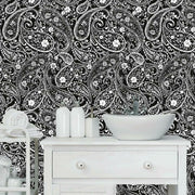 Paisley Prince Peel and Stick Wallpaper black roomset 2