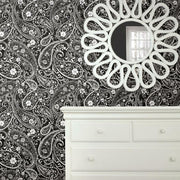 Paisley Prince Peel and Stick Wallpaper black roomset