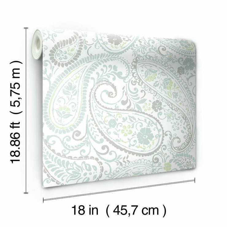 Paisley Prince Peel and Stick Wallpaper grey roll