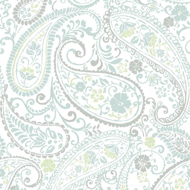 Paisley Prince Peel and Stick Wallpaper grey