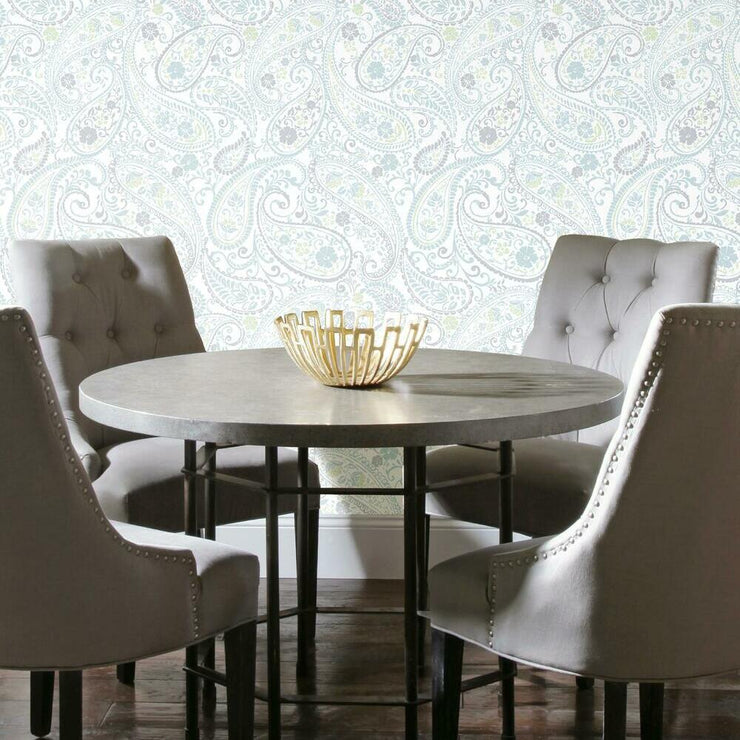 Paisley Prince Peel and Stick Wallpaper grey roomset 3