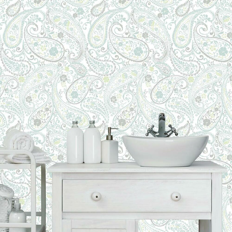 Paisley Prince Peel and Stick Wallpaper grey roomset 2