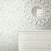 Paisley Prince Peel and Stick Wallpaper grey roomset
