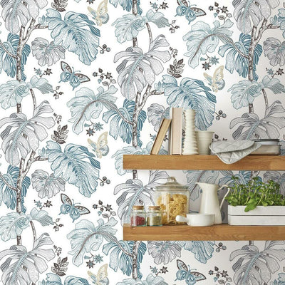Boho Palm Peel and Stick Wallpaper blue roomset