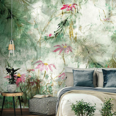 Jungle Lily Mural Peel and Stick Wallpaper green roomset