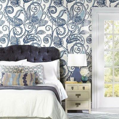 Paisley Power Peel and Stick Wallpaper blue roomset
