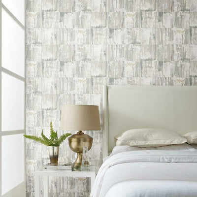 Washout Peel and Stick Wallpaper beige roomset