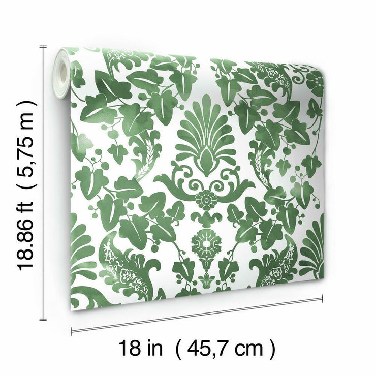 Vine Damask Peel and Stick Wallpaper green roll