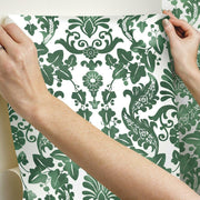 Vine Damask Peel and Stick Wallpaper green hang