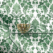 Vine Damask Peel and Stick Wallpaper green roomset 3