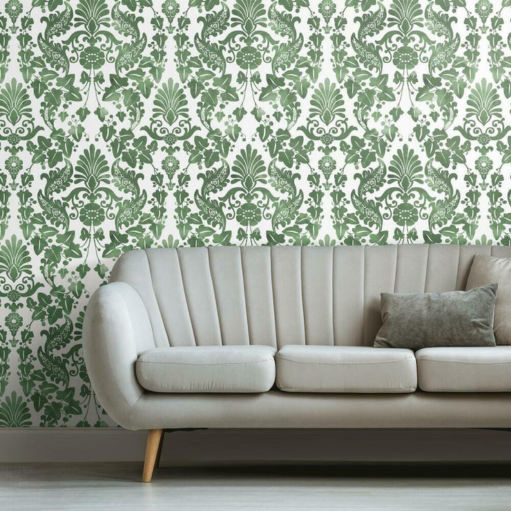 Vine Damask Peel and Stick Wallpaper green roomset