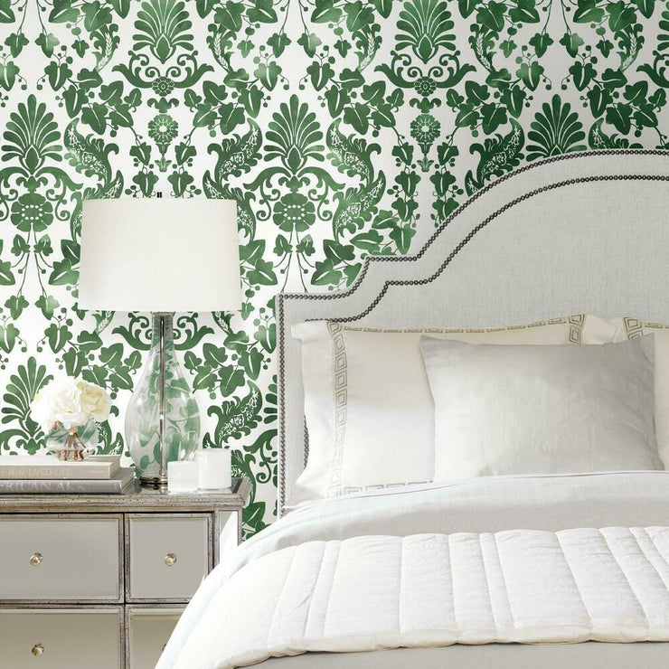Vine Damask Peel and Stick Wallpaper green roomset 2