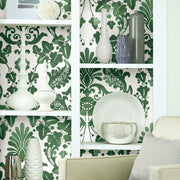 Vine Damask Peel and Stick Wallpaper green roomset 4
