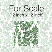 Vine Damask Peel and Stick Wallpaper green scale