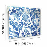 Vine Damask Peel and Stick Wallpaper blue roll