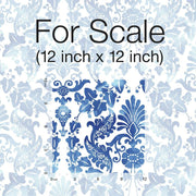 Vine Damask Peel and Stick Wallpaper blue scale
