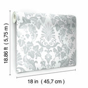 Vine Damask Peel and Stick Wallpaper grey roll