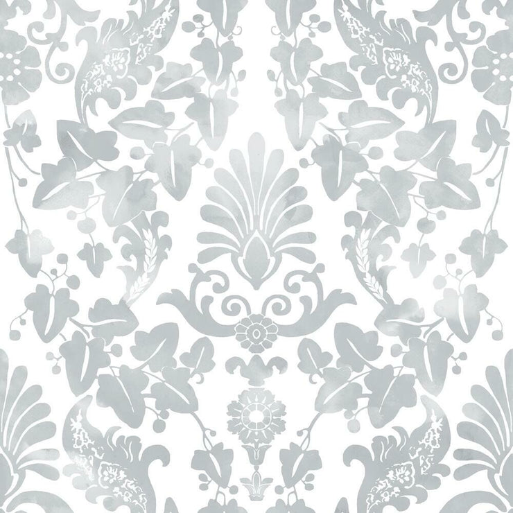 Vine Damask Peel and Stick Wallpaper grey
