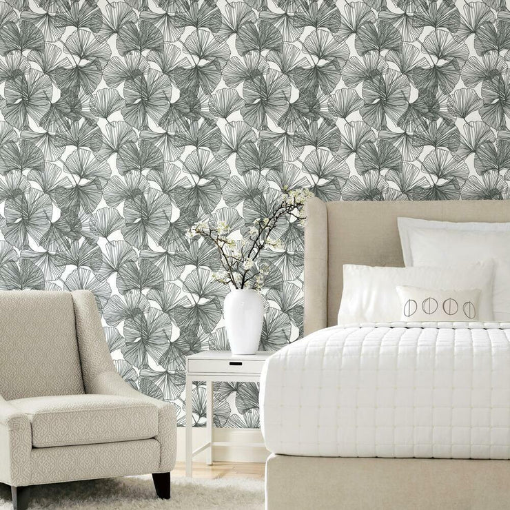 Gingko Leaves Peel and Stick Wallpaper black 3