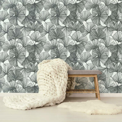 Gingko Leaves Peel and Stick Wallpaper black roomset
