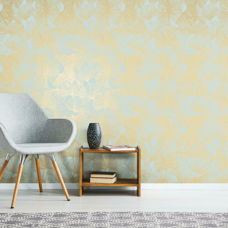 Gingko Leaves Peel and Stick Wallpaper gold roomset 2