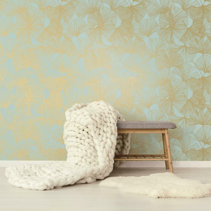 Gingko Leaves Peel and Stick Wallpaper gold roomset