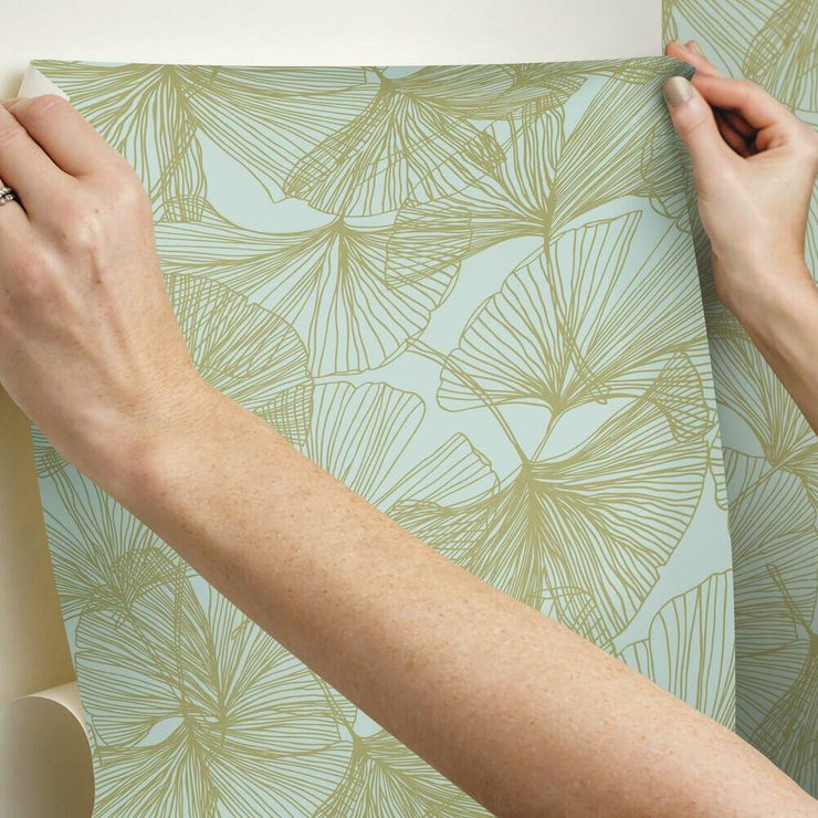 Gingko Leaves Peel and Stick Wallpaper gold hang