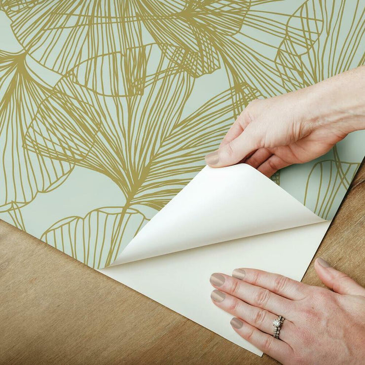 Gingko Leaves Peel and Stick Wallpaper gold peel