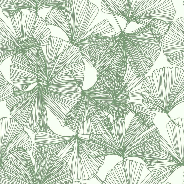 Gingko Leaves Peel and Stick Wallpaper green