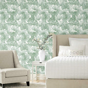 Gingko Leaves Peel and Stick Wallpaper green roomset 2