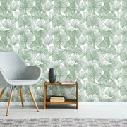 Gingko Leaves Peel and Stick Wallpaper green roomset 3