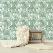 Gingko Leaves Peel and Stick Wallpaper green roomset