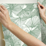 Gingko Leaves Peel and Stick Wallpaper green hang