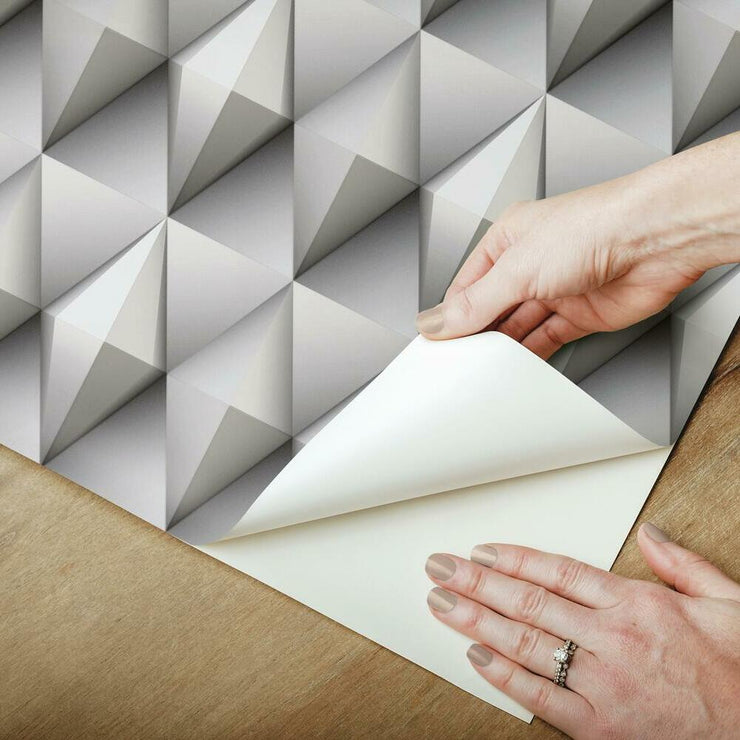 Paragon Geometric Peel and Stick Wallpaper grey peel
