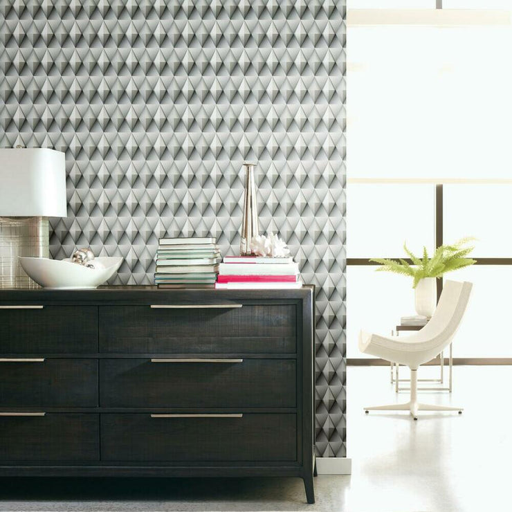 Paragon Geometric Peel and Stick Wallpaper grey roomset