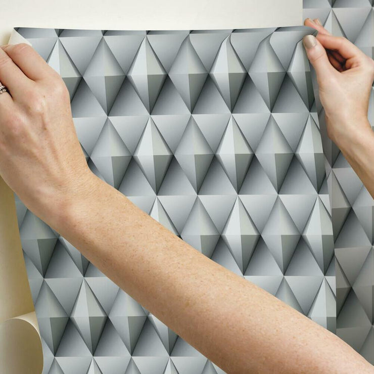 Paragon Geometric Peel and Stick Wallpaper grey hang