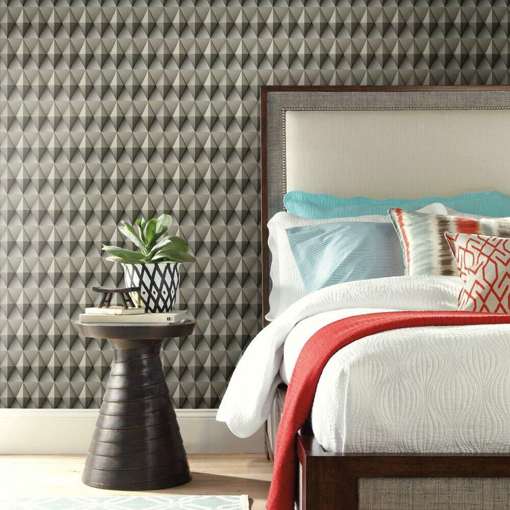 Paragon Geometric Peel and Stick Wallpaper brown roomset