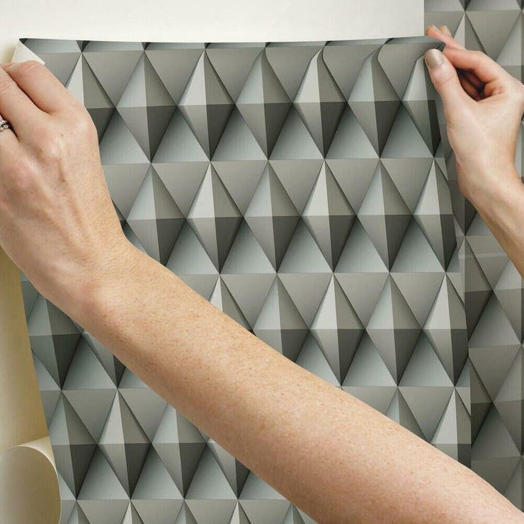 Paragon Geometric Peel and Stick Wallpaper brown hang