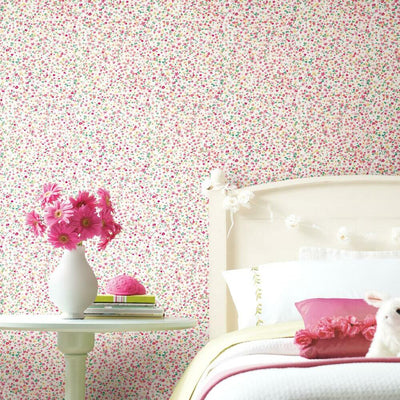 Petite Floral Peel and Stick Wallpaper white roomset
