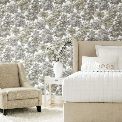 Old World Trees Peel and Stick Wallpaper grey roomset
