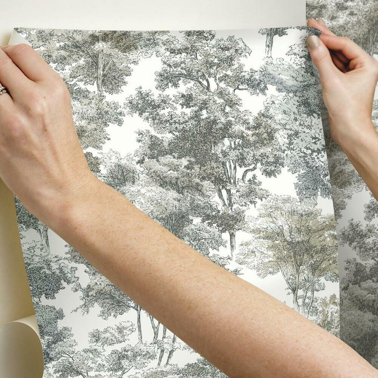 Old World Trees Peel and Stick Wallpaper grey hang